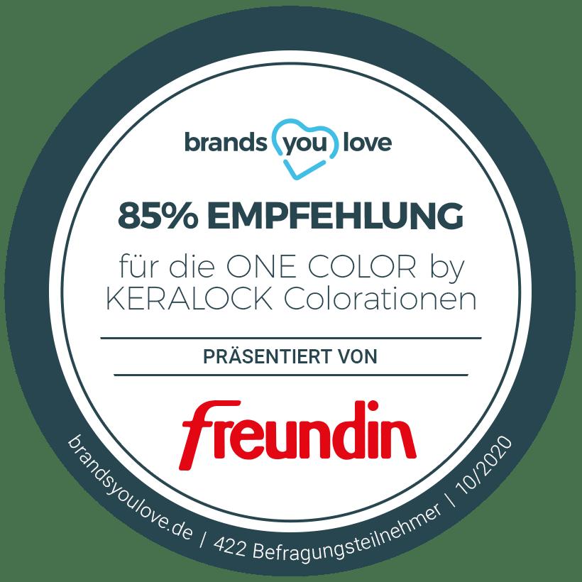 ONE COLOR Empfehlungssiegel brands you love Zeitschrift freundin